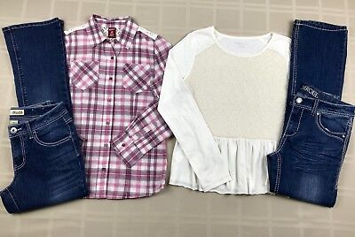 Girls Size 14 Long Sleeve Shirts Tops Boot Cut Pants Jeans Fall Mixed Lot Set
