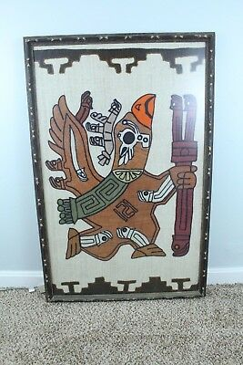 "Central American Mayan Aztec Large Framed Stitched Bird God Deity 36.5"" x 24"""
