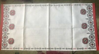 """Exceptional Old Vintage Russian Linen Embroidered Bridal Tea Towel 31 3/4"""" x"""