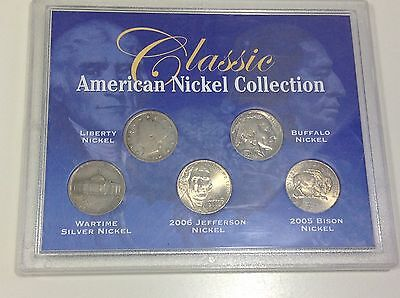 Classic American Nickel Collection Liberty Buffalo Wartime Jefferson Bison