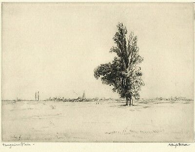 Vintage Etching by English Artist - A. Hugh Fisher - Hungarian Plain