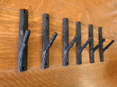 "6 Brown 7.5"" Tall Tree Trunk Branch Twig Single Wall Hooks Rustic Cast Iron"