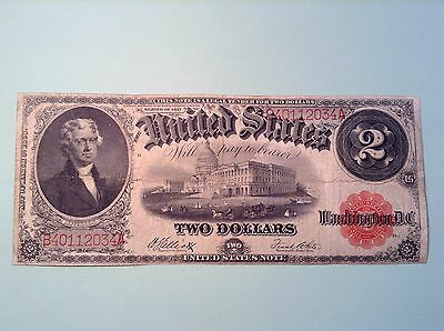 1917 Two $ 2 Dollar Red Seal Banknote