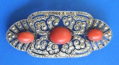Antique Hallmarked French Silver Art Deco Coral Cut Steel Marcasite Brooch Pin