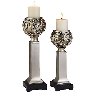 """15"""" and 19"""" Polyresin """"Vine"""" Candleholder, Silver finish (Set of 2)"""