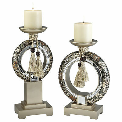 """12"""" and 14"""" Tall Polyresin Candleholder, Bronze and Gold Chrysanthemum design..."""