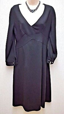 Versace 1969 elegant black A Line Dress with pearled cuff links Size S UK 10 231408abb36