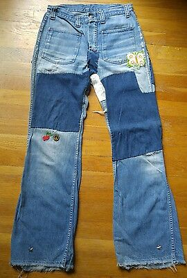 Ultimate Vintage 70s PATCHWORK denim BELL BOTTOM Patches hippie festival jeans
