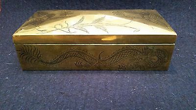 Japanese Dragon Ww2 Brass Engraved Cigarette Cigar Box