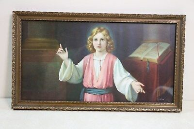 Vintage  Art Deco Period Religious Print By Giovanni Wooden Frame