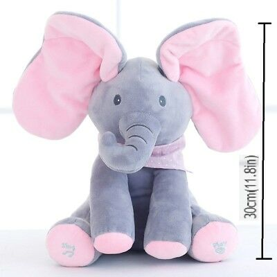 Peek-a-Boo Animated Talking and Singing Plush Elephant Stuffed Toy Doll for Baby
