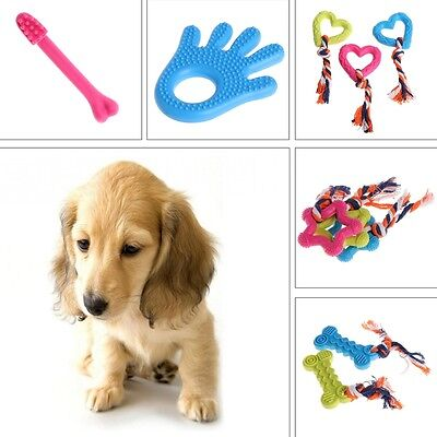 New Pet Dog Puppy Rubber Rope Dental Teething Healthy Teeth Gums Chew Play Toy