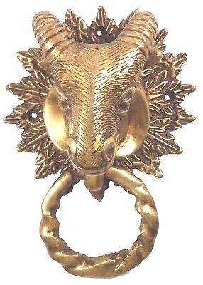 Goat Head Design Handmade Antique Vintage Style Brass Door Knocker Home Decor