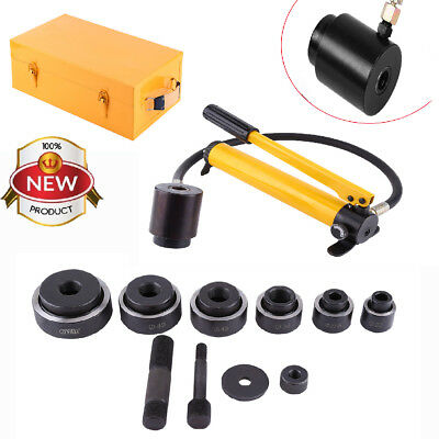 15Ton Hydraulic Knockout Punch Hole Driver Kit Complete Tool Set with 10 Dies US
