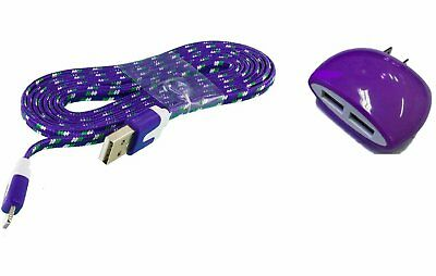 Blackberry KEYone Purple Wall Charger with 3 FT Braided Type-C and Dual Outlet