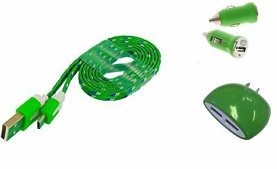 Blackberry KEYone Green Charging Combo Braided Type-C Cable, Wall & Car