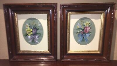 Pair of Beautiful Artist Signed Floral Paintings in Antique Frames