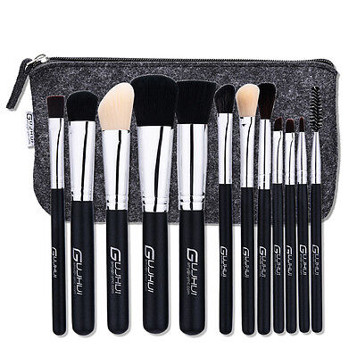 12 Pcs Makeup Brushes·Set Powder Foundation Eyeshadow Eyeliner Lip Brush w/ Case