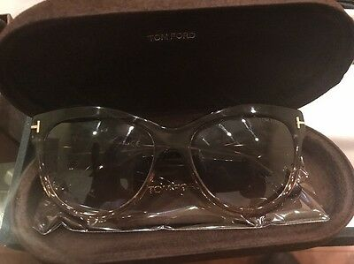 ab9f0dc490  249 Tom Ford Lily TF430 20P Clear Gray Peach Gradient Womens Cat Eye  Sunglasses