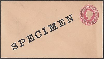 """Southern Nigeria 1 Penny Scarce Ps Envelope With """"specimen"""" Overprint"""