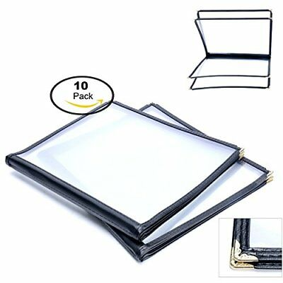 """10 Pack 4 Page 8 View Menu Covers 8.5 x 11"""" Protective Corner Restaurant Book"""