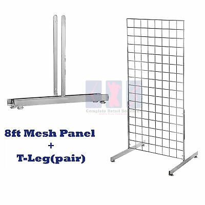 NEW 8ft HEAVY DUTY GRID WALL/GRIDWALL MESH CHROME DISPLAY PANEL WITH T-LEG pair