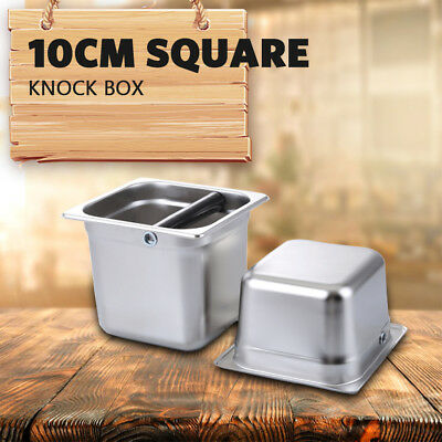 Stainless Steel Espresso Knock Box Bash Bin Coffee Tamper Waste Bucket Knockbox