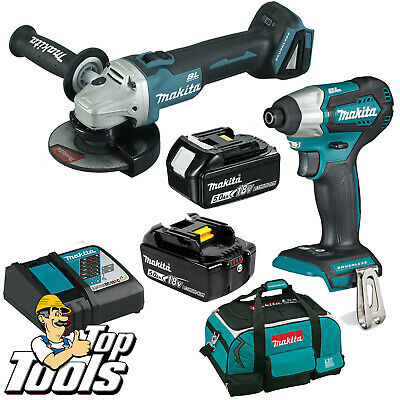 Makita 18V Li-Ion Brushless Angle Grinder Impact Driver 5.Ah Battery Combo Kit