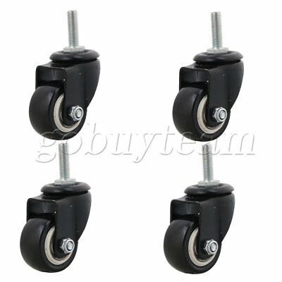 4x Black Furniture Sofa Bed Caster 1.5inch Swivel Caster Wheel M8 Bolt