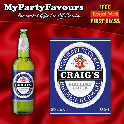 Perfect Birthday Gift! 4 Personalised Novelty Lager//Beer Bottle Labels
