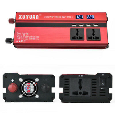 2000W Car SUV LED Power ful Inverter Converter DC12V- AC220V 4 USB Ports Charger