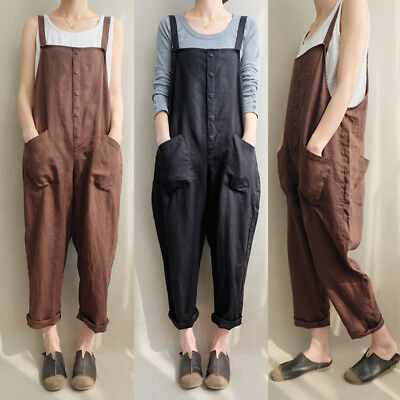 AU 8-24 Womens Sleeveless Dungaree Jumpsuits Overalls Casual Loose Harem Pants