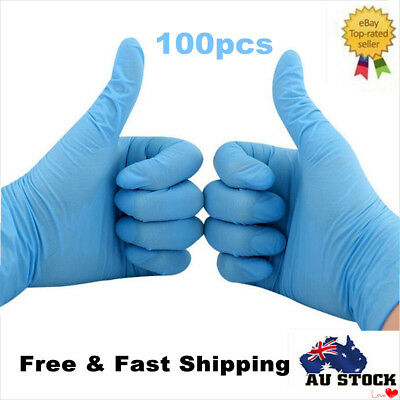 100pcs Blue Nitrile Disposable Gloves Powder Free  Examination Medical Gloves