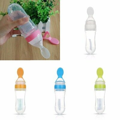 Infant Baby Silicone Squeeze Feeding With Spoon Feeder Food Soup Cereal Bottle