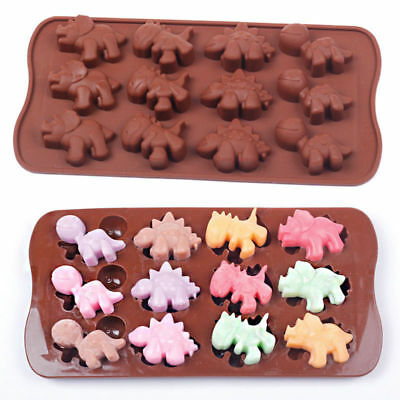 12-Dinosaur Silicone Mould Cake Chocolate Fondant Candy Mold Decorating Tray t