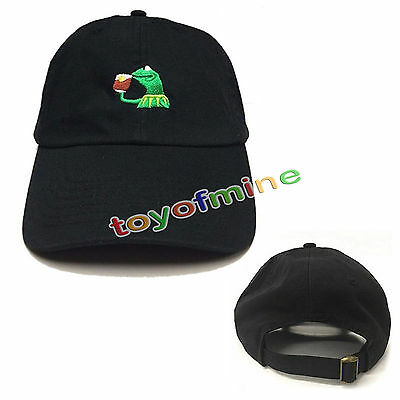 ca64616069a Hot Kermit Tea Hat The Frog Sipping Drinking Tea Baseball Dad Visor Cap  Emoji US