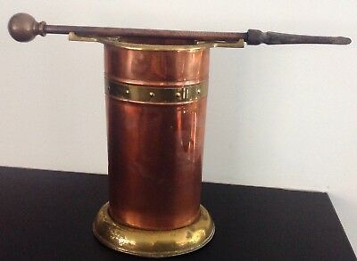 Arts & Crafts Copper and Brass Fireside Hearth Stand with Copper Poker