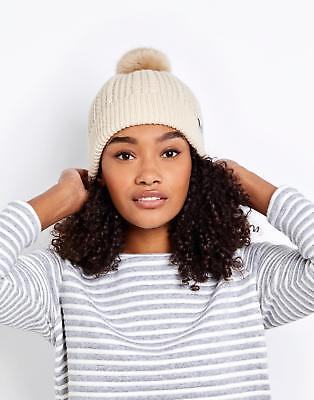 Joules Knitted Bobble Hat in Cream in One Size