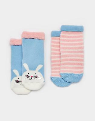 Joules Terry Girls Two Pack Towelling Socks in Soft Cotton/Nylon Mix in Bunny