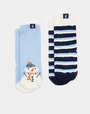 Joules Terry Boys Two Pack Towelling Socks in Super Soft Cotton Mix in Sky Blue