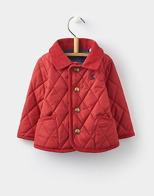 Joules Milford Boys Quilted Jacket with Popper Fastening with Cord Trims in Red