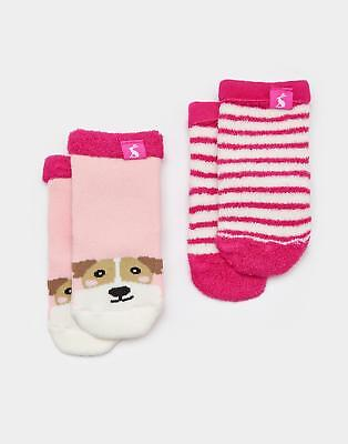 Joules Terry Girls Two Pack Towelling Socks in Soft Cotton/Nylon Mix in Dog