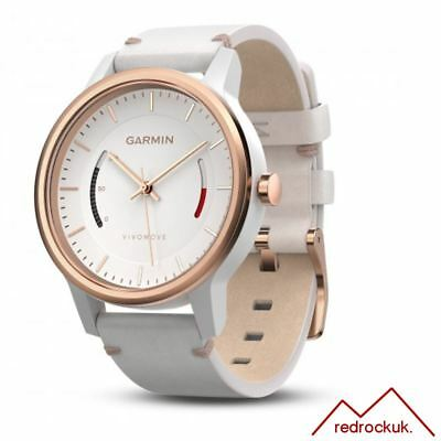 Garmin Vivomove Classic Fitness Tracker with White Leather Band