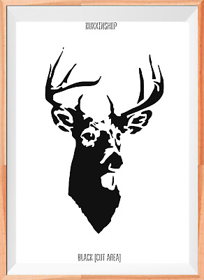 Stag Deer Head A4 Mylar Reusable Stencil Airbrush Painting Art
