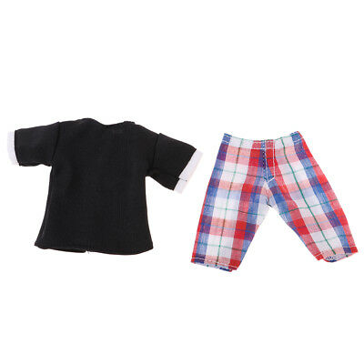 Dolls Shirt Tops Checked Pants Clothes Outfit for Barbie Boyfriend Ken Doll