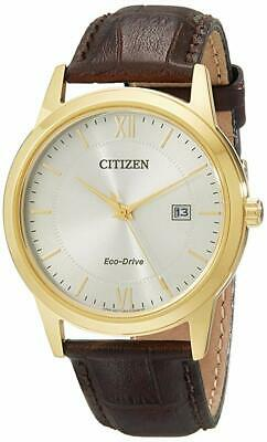 Citizen Eco Drive AW1232-04A Gold Tone Stainless Steel Brown Leather Men's Watch