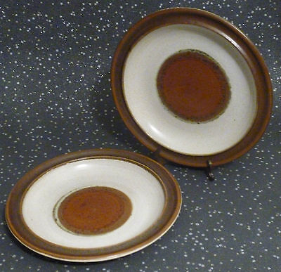 Denby potters wheel stoneware small side plates - used - England