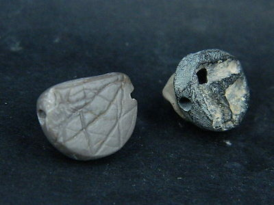 Ancient Stone 2 Beads/Seals Roman 200 BC #BE368