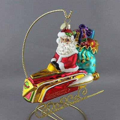 Christopher Radko Santa Claus Supersonic Sleigh Ornament Christmas