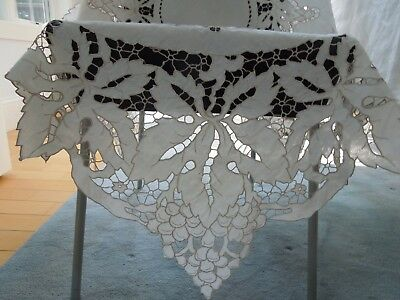 Antique Madeira Linen Tablecloth Dense Hand Embroidery Cutwork Leaves Grapes #2